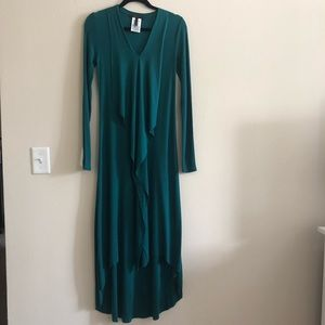 BCBGMaxazria Maxi Long Sleeve Turquoise Dress
